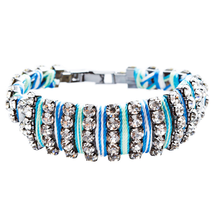 Gorgeous Crystal Rhinestone Cord Design Latch Wrap Bracelet Ocean Blue B443
