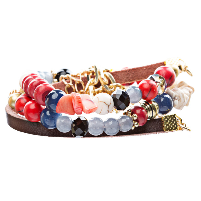 Beautiful Bead Stone Colorful Link Leather Cord Fashion Bracelet B445 Gold Red