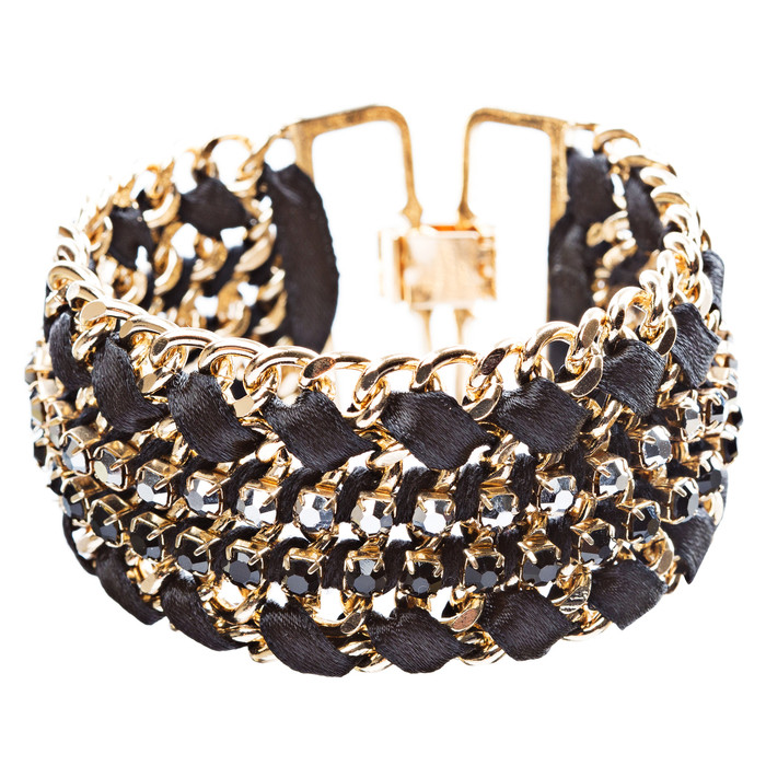 Gorgeous Crystal Rhinestone Fabric Braided Latch Fashion Bracelet B455 Black
