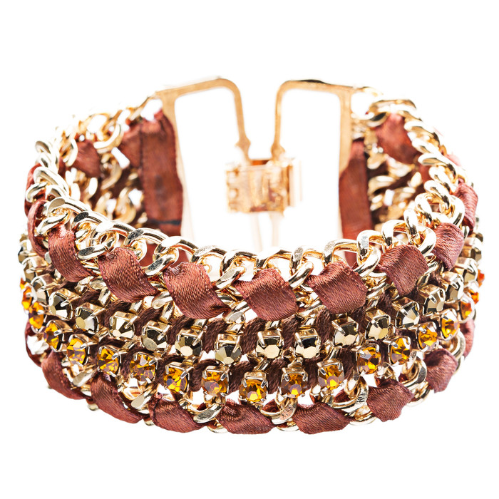 Gorgeous Crystal Rhinestone Fabric Braided Latch Fashion Bracelet B455 Brown