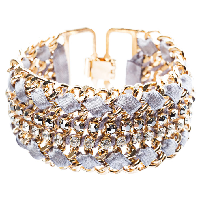 Gorgeous Crystal Rhinestone Fabric Braided Latch Fashion Bracelet B455 Gray