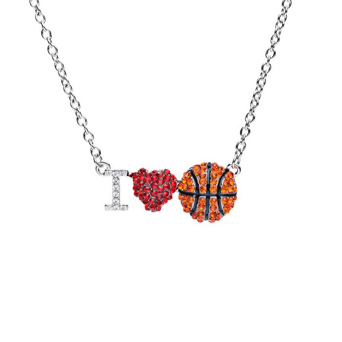 Sport Jewelry I Love Basketball Crystal Rhinestone Heart Fashion Necklace Silver