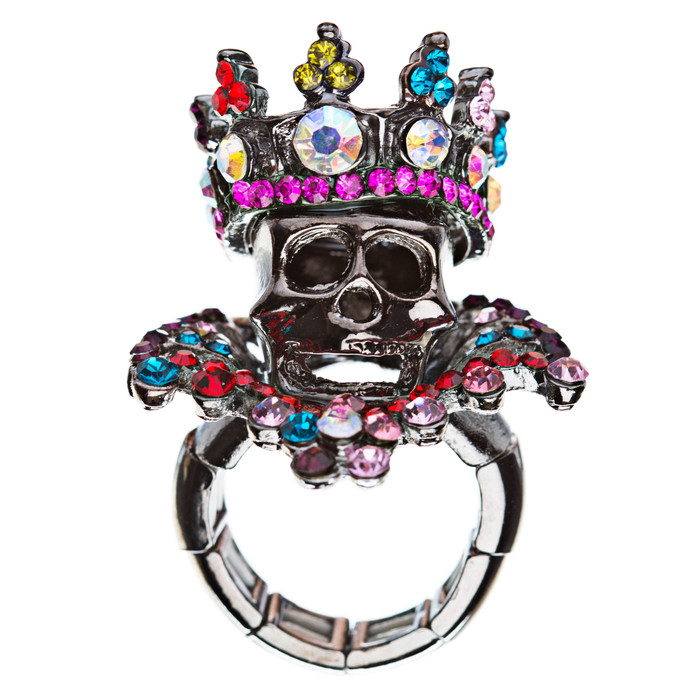 Halloween Costume Jewelry Crystal Skull With Crown Stunning Stretch Ring Multi