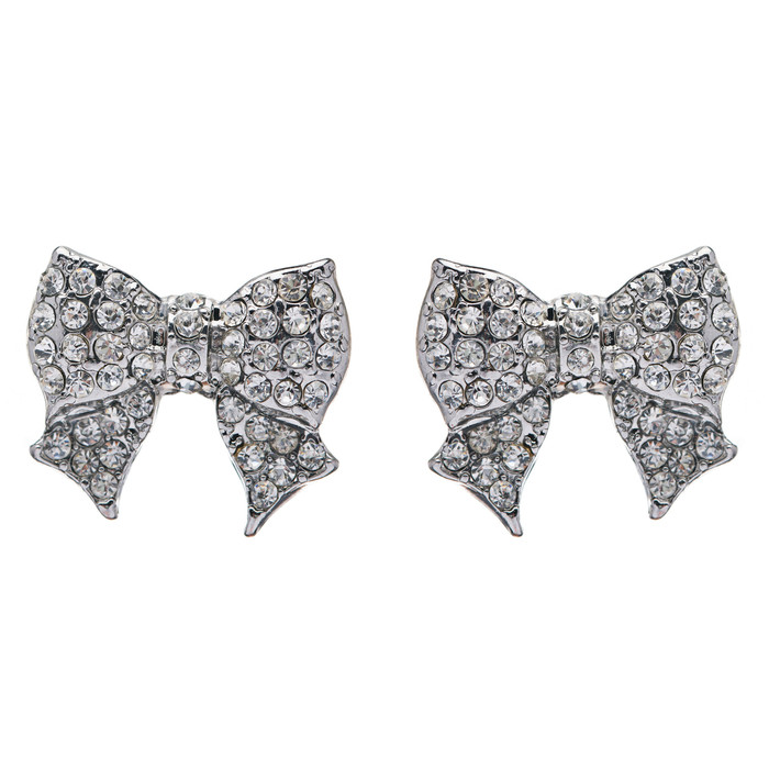 Gorgeous Fashion Ribbon Bow Design Crystal Rhinestone Pave Stud Earrings Silver