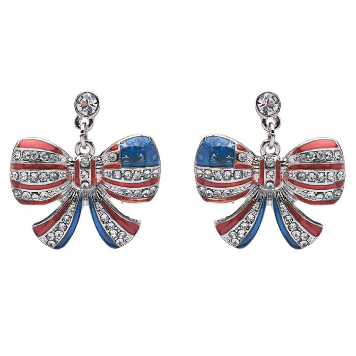Patriotic American Flag Brilliant Crystal Rhinestone Ribbon Earrings Sliver