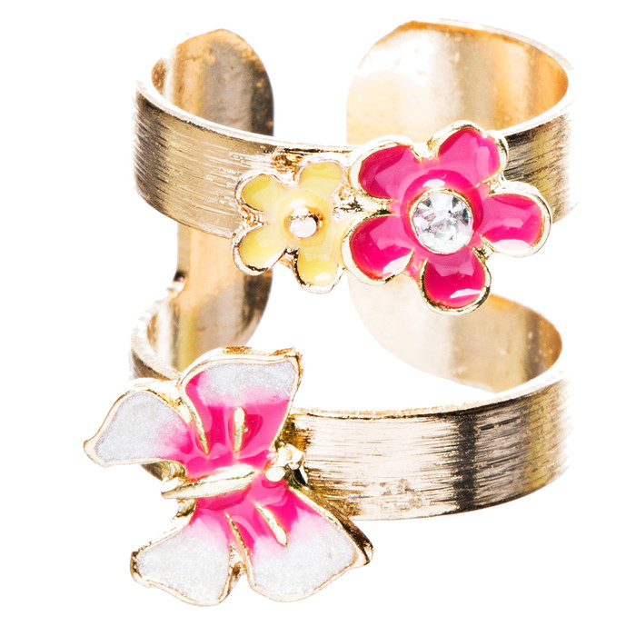 Adorable Butterfly Floral Decorated Crystal Fashion Open Ring R210 Gold Pink
