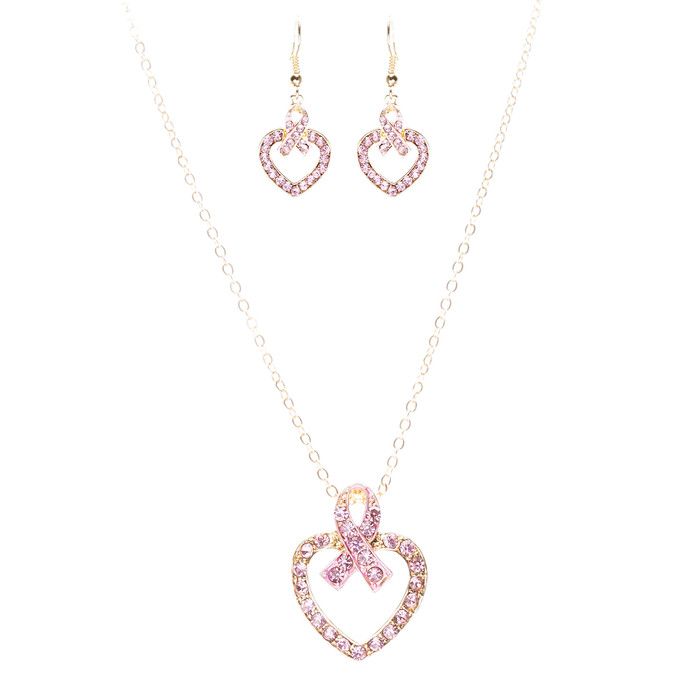 Pink Ribbon Jewelry Crystal Rhinestone Charming Heart Necklace Set JN259 Pink