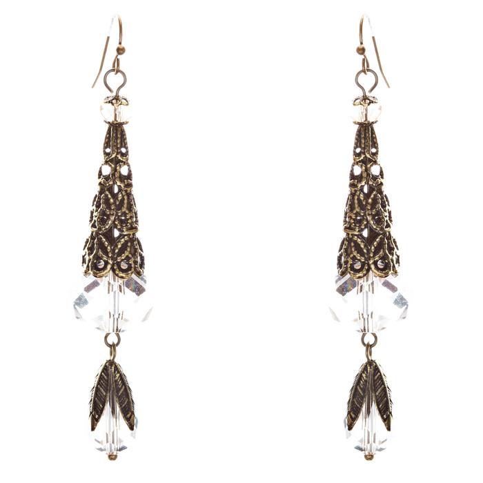 Bold Fashion Crystal Rhinestone Brassy Tear Drop Cone Design Earrings E841 Clear