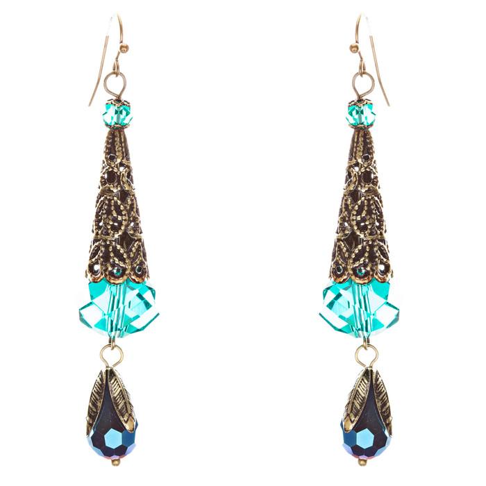 Bold Fashion Crystal Rhinestone Brassy Tear Drop Cone Design Earrings E841 Green
