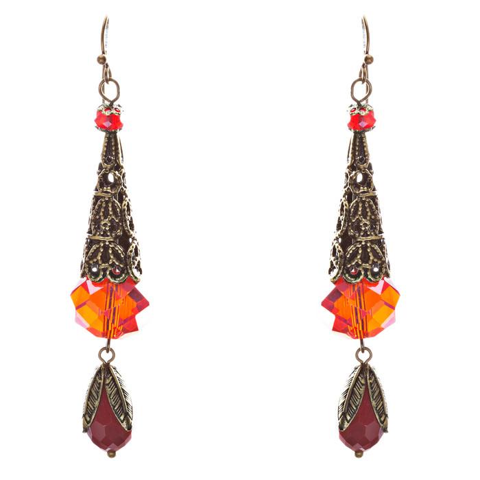 Bold Fashion Crystal Rhinestone Brassy Tear Drop Cone Design Earrings E841 Red