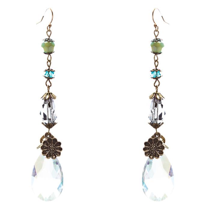 Trendy Design Crystal Rhinestone Linear Tear Drop Shape Earrings E845 Blue