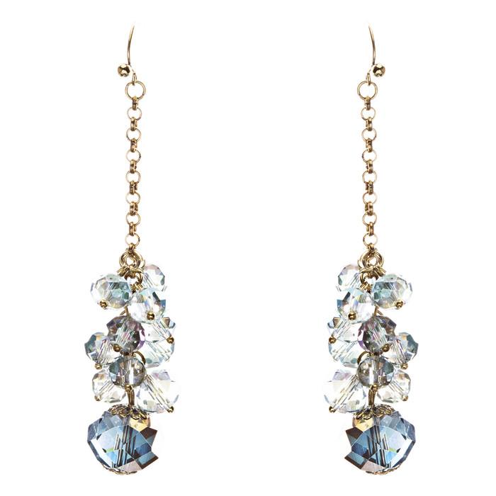 Trendy Design Crystal Rhinestone Lovely Cluster Balls Dangle Earrings E846 Blue