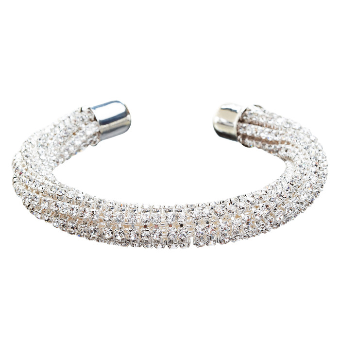 Bridal Wedding Jewelry Crystal Rhinestone Fashion Crafted Bracelet B415 Silver