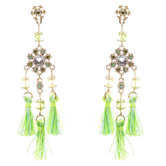 Unconventional Design Crystal Rhinestone Fun Tasseled Dangle Earrings E811 Green