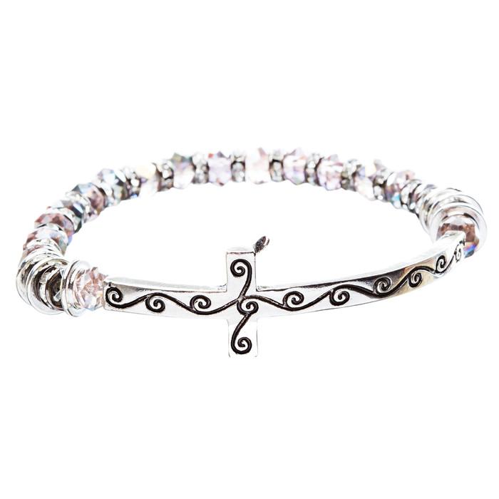 Cross Jewelry Crystal Rhinestone Gorgeous Cross Stretch Bracelet B466 Multi
