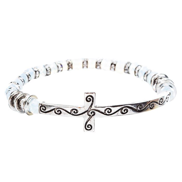 Cross Jewelry Crystal Rhinestone Gorgeous Cross Stretch Bracelet B466 Silver