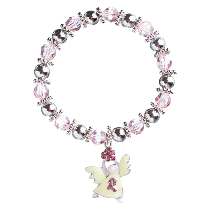 Pink Ribbon Jewelry Crystal Rhinestone Pretty Glass Beaded Necklace B486 Silver