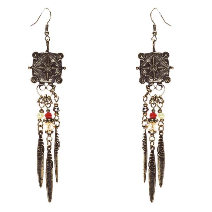Tribal Fashion Exotic Long Drop Glass Beads Dangle Earrings E823 Multi