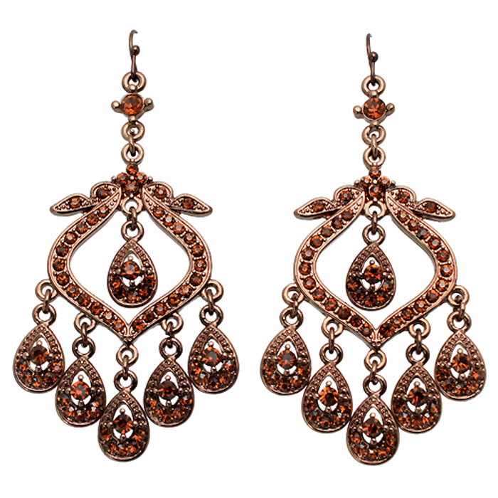 Crystal Pave Vintage Chandelier Luxury Earring Brown