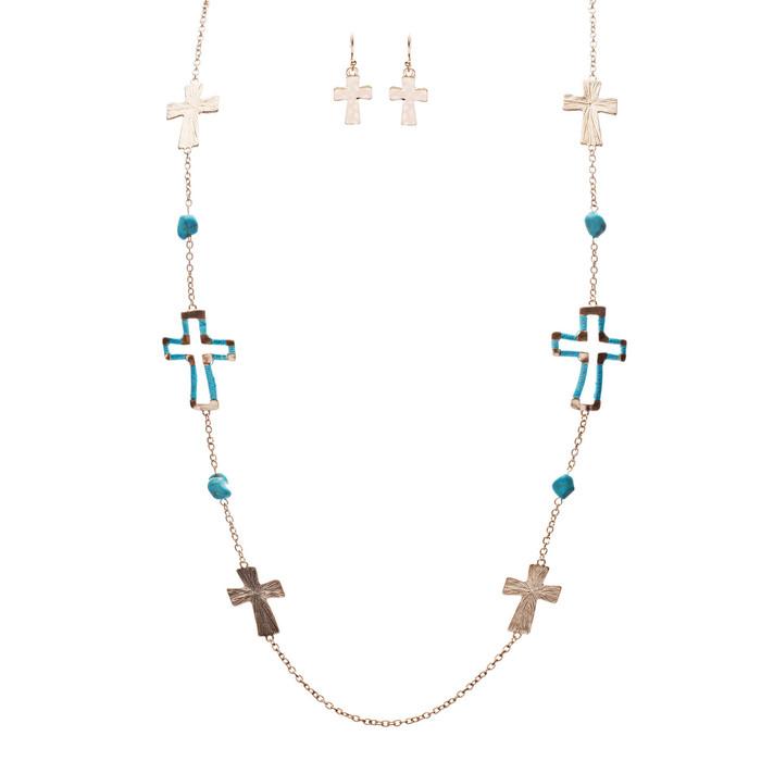 Cross Jewelry Simple Yet Fascinating Spiritual Charm Necklace Set JN223 TQ