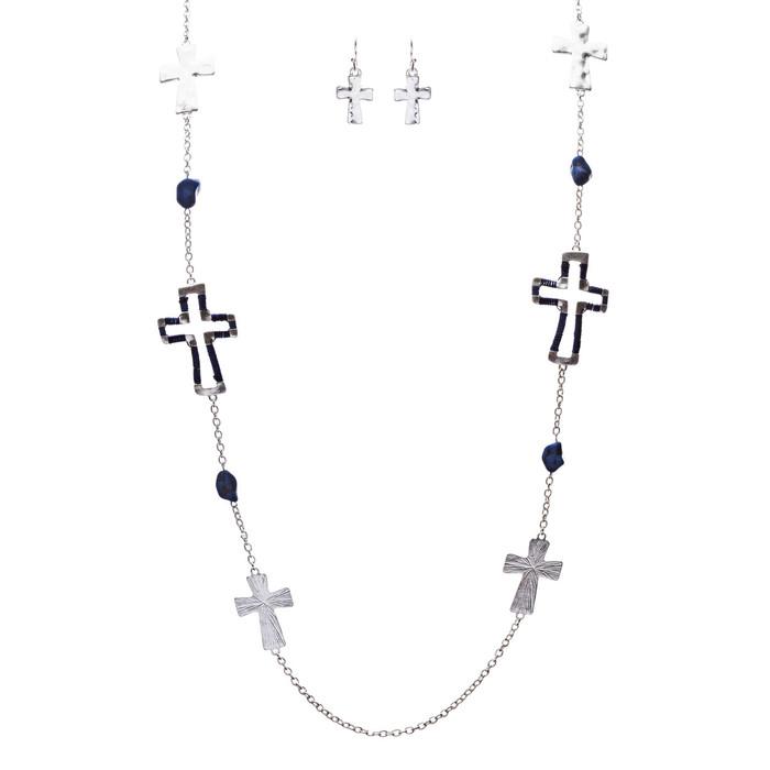 Cross Jewelry Simple Yet Fascinating Spiritual Charm Necklace Set JN223 Blue