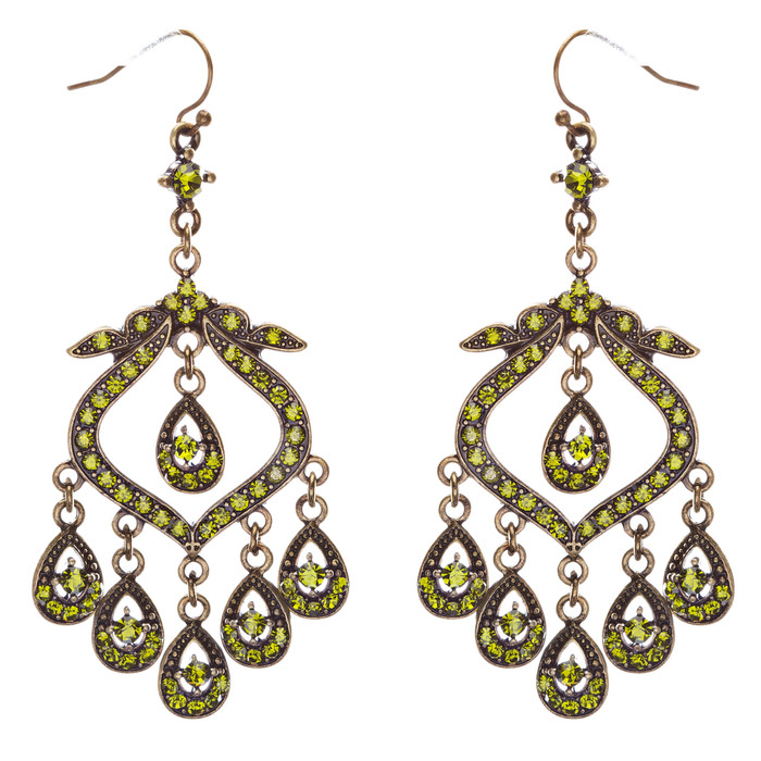 Crystal Pave Vintage Chandelier Luxury Earring Green