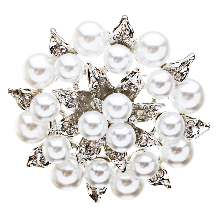 Bridal Wedding Jewelry Crystal Rhinestone Beautiful Flower Brooch Pin BH76Silver