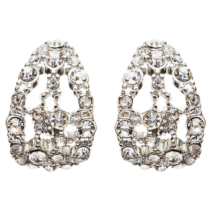 Bridal Wedding Jewelry Crystal Rhinestone Original Design Earrings E739 Silver