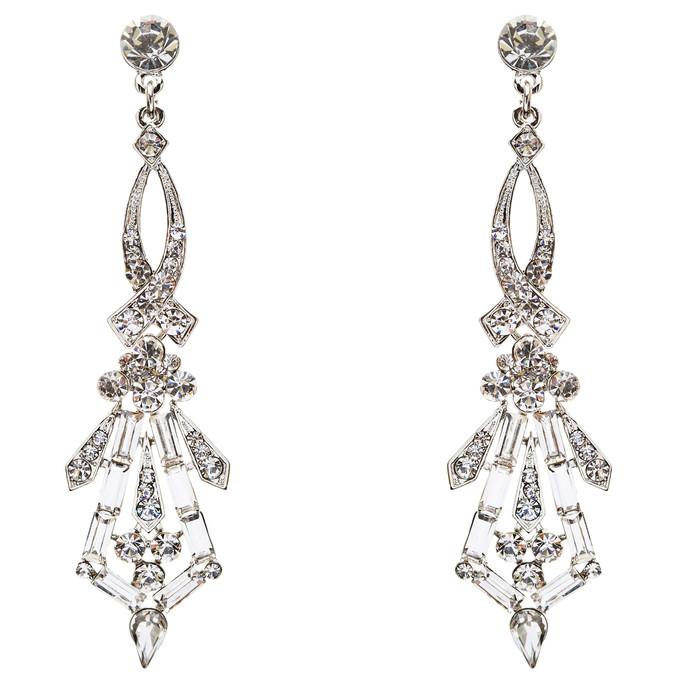Bridal Wedding Jewelry Crystal Rhinestone Impressive Dangle Earrings E741 Silver