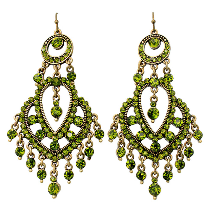 Crystal Pave Vintage Chandelier Luxury Earring Green L
