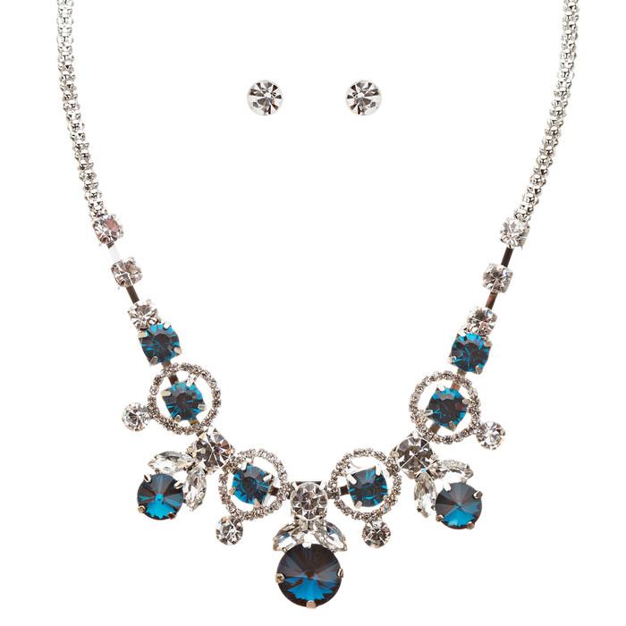 Glamorous Jewelry Set Crystal Rhinestone Elegant Setting Necklace J526 Blue