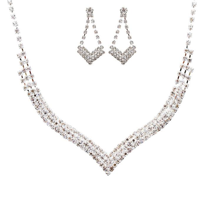 Bridal Wedding Jewelry Crystal Rhinestone Elegant Design Necklace J536 Silver