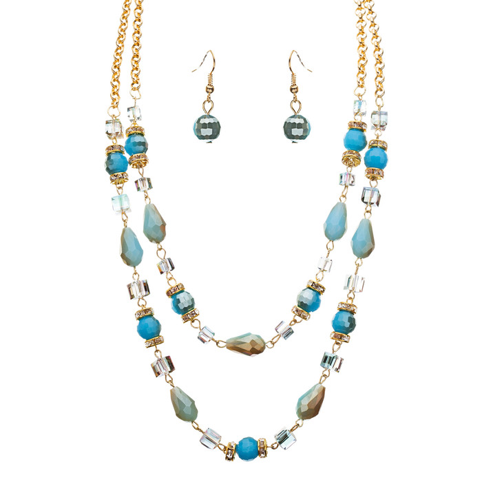 Fascinating Design Crystal Rhinestone Beaded Tear Drop Necklace Set JN182 Blue