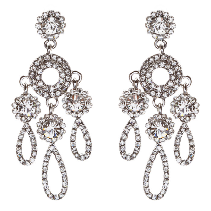 Crystal Pave Teardrop Chandelier Earring Clear Silver