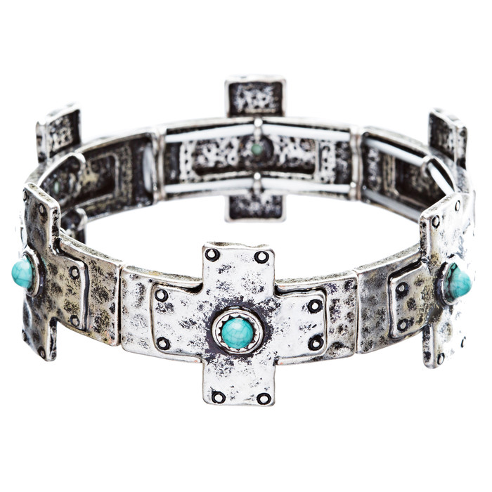 Cross Jewelry Fascinating Turquoise Stone Link Stretch Wrap Around Bracelet B475