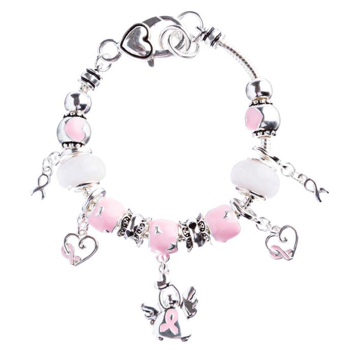 Pink Ribbon Jewelry Crystal Rhinestone Cute Dangling Link Bracelet B478 Silver