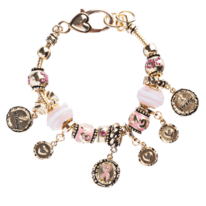 Pink Ribbon Jewelry Crystal Rhinestone Gorgeous Charms Link Bracelet B479 Pink