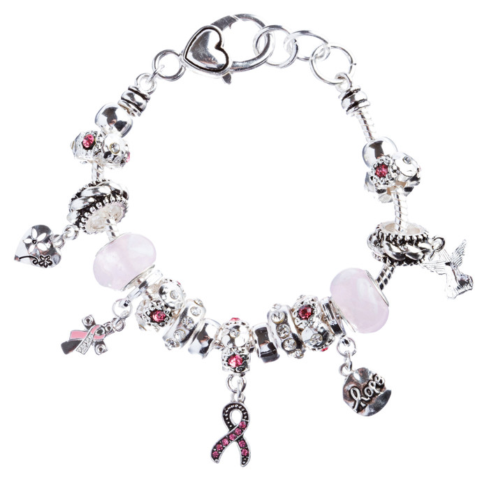 Pink Ribbon Jewelry Crystal Rhinestone Adorable Charms Link Bracelet B481 Silver