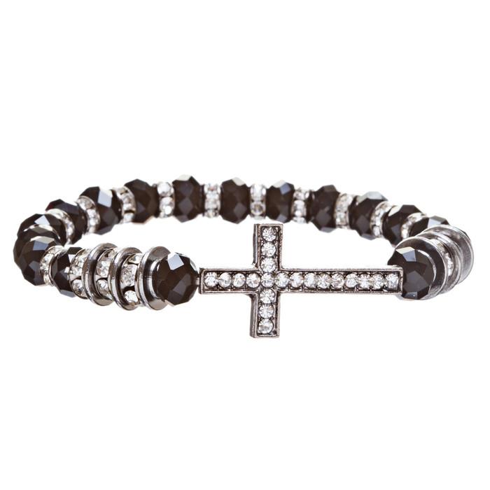 Cross Jewelry Crystal Rhinestone Trendy Design Cross Stretch Bracelet B362 Black