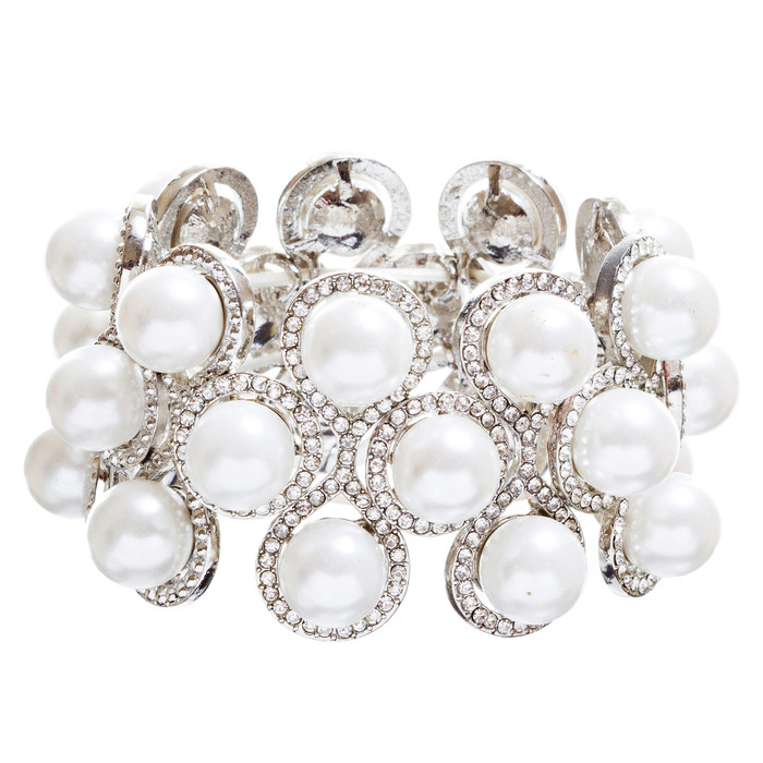 Bridal Wedding Jewelry Crystal Rhinestone Impressive Faux Pearl Bracelet B499 SV
