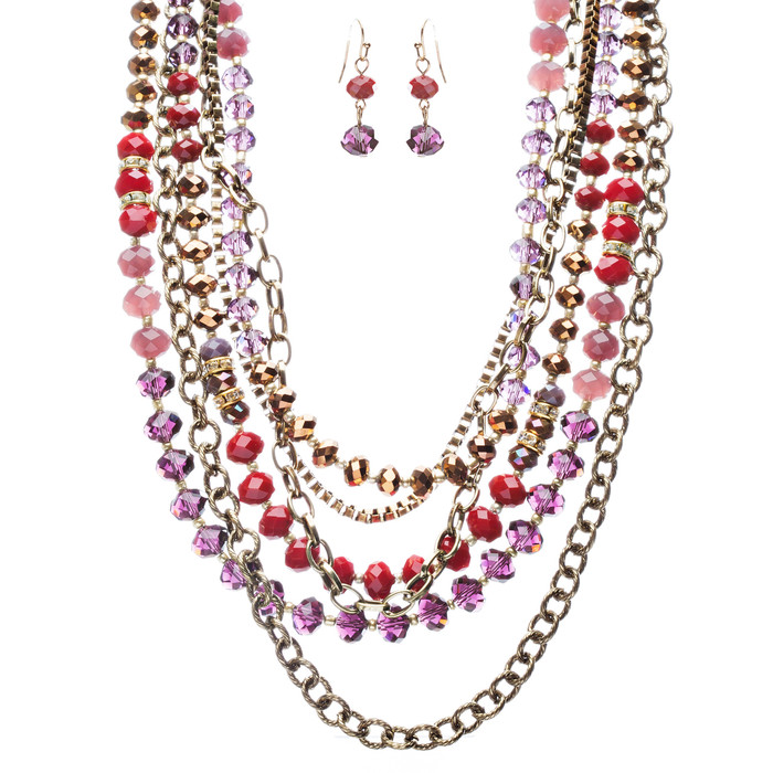 Exotic Multi Layered Colorful Bead Drape Design Fashion Statement Set JN267 Red