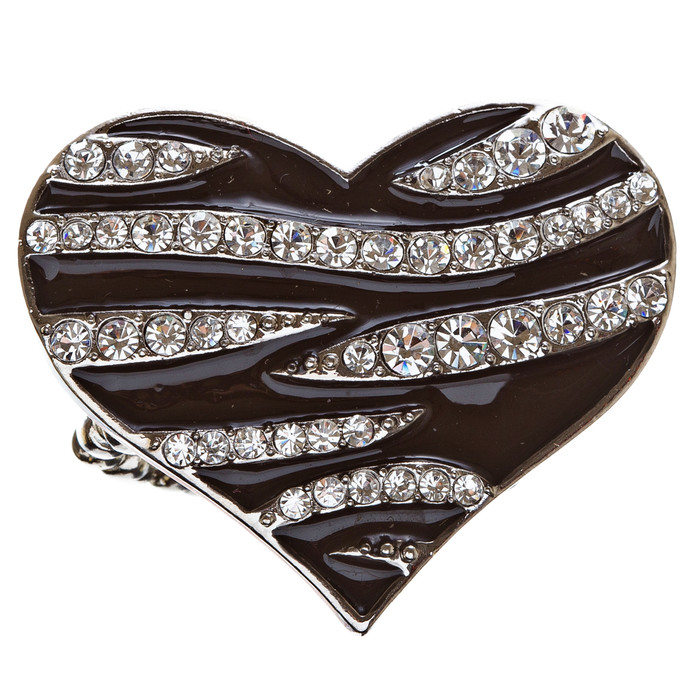 Modern Fashion Polished Animal Veined Pattern Heart Stretch Ring R009 Black