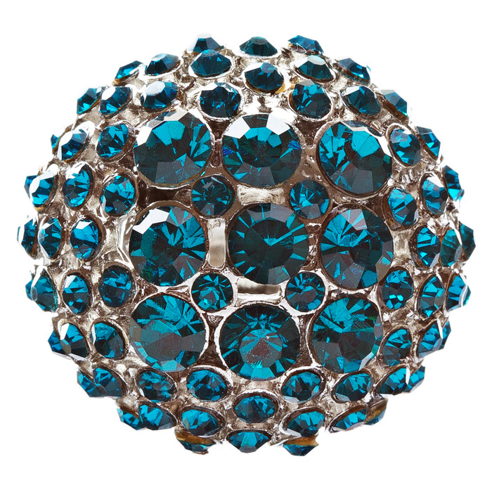 Modern Fashion Charming Duo Tone Dome Round Crystal Pave Stretch Ring R77 Blue