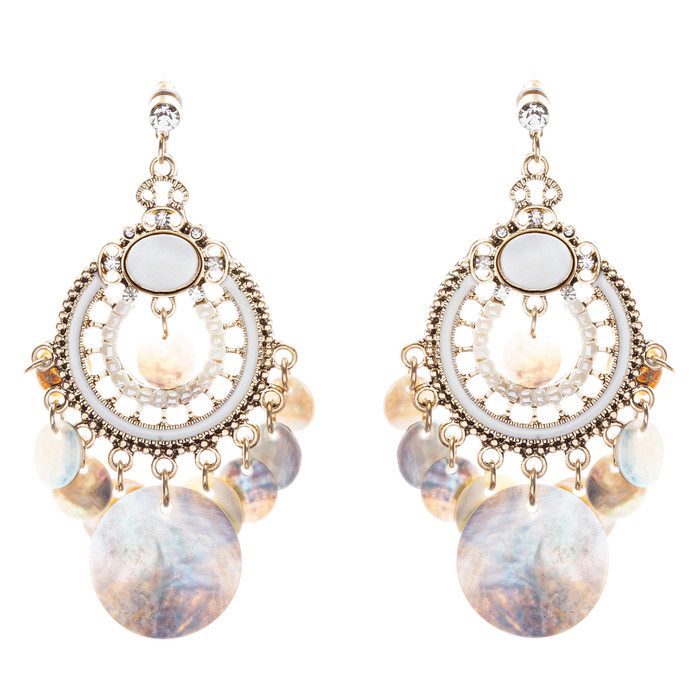 Mother of Pearl Vintage Chandelier Earring Black Gold