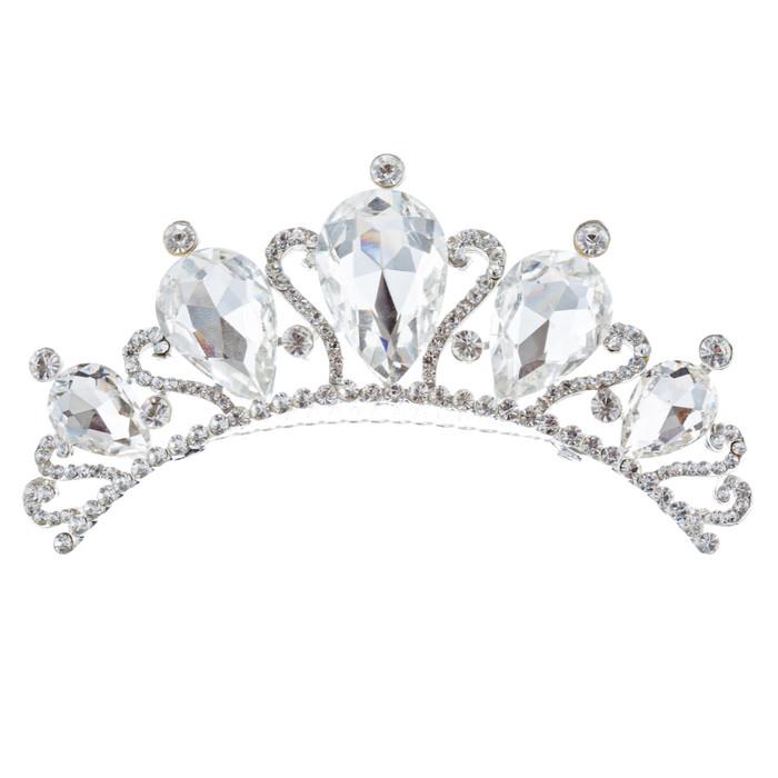 Bridal Wedding Jewelry Crystal Rhinestone Beautiful Teardrop Hair Comb H135 SV