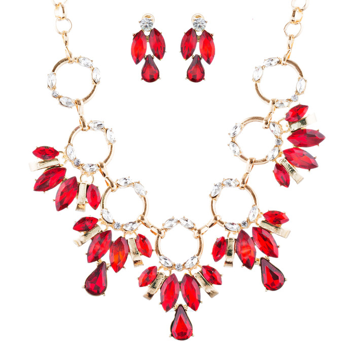Beautiful Stylish Trendy Crystal Statement Necklace Jewelry Set JN270 Red