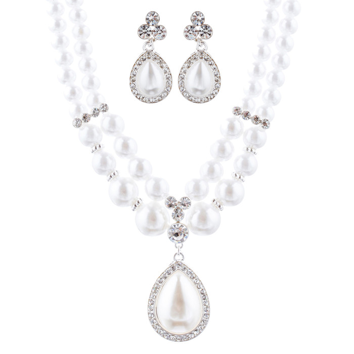 Bridal Wedding Jewelry Crystal Rhinestone Pearl Teardrop Necklace Set J704 SV