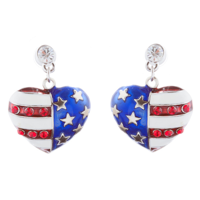 Patriotic American Flag 3D Heart Charm Earrings Silver