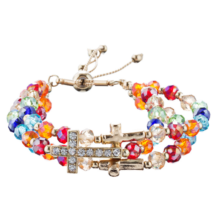 Cross Jewelry Crystal Rhinestone Multi Strands Link Wrap Bracelet B508 Multi