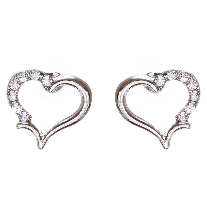 Valentines Jewelry Wedding Romantic Heart Charm Stud Style Earrings E957 Silver